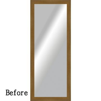 revamped plain mirror frame with chalkpaint gilding